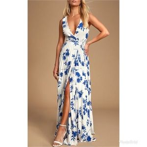Lulu's Lindsie Floral Pleated Wrap Maxi Dress